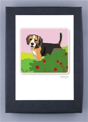 Beagle Tail Up - Grrreen Boxed Note Cards