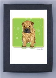 Shar-Pei Puppy - Grrreen Boxed Note Cards