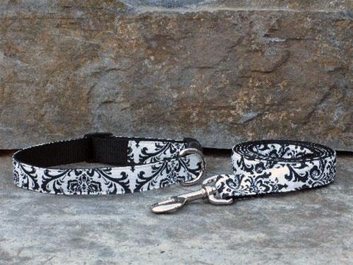 Black / White Trellis Collars and Leashes