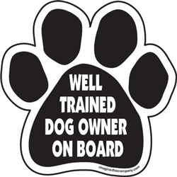 Well trained dog owner on board Paw Magnets