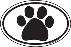 Black Paw Oval Magnets
