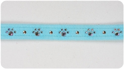 Tiffi Blue Crystal Paw Print Collars