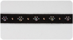 Black Crystal Paw Print Collars