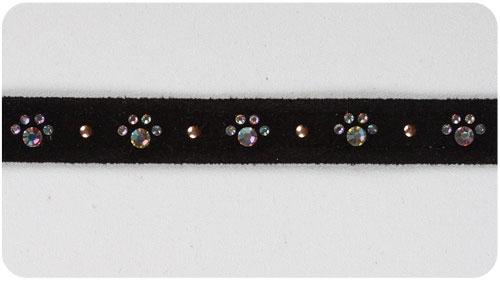 Black Crystal Paw Print Collars