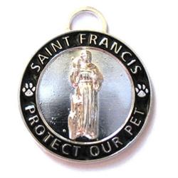 Large Black / Silver St. Francis Medallion