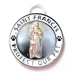 Large Silver / White St. Francis Medallion