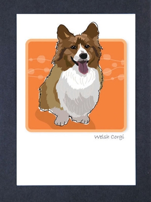 Welsh Corgi - Puffy Chest - Grrreen Boxed Note Cards