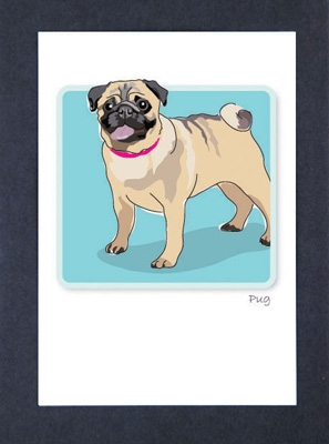 Pug - Standing - Grrreen Boxed Note Cards