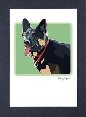 Shepherd - Standing - Grrreen Boxed Note Cards