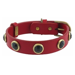 Pebble Collar & Leash - Red/Onyx