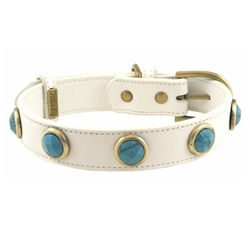 Pebble Collar & Leash - White/Turquoise
