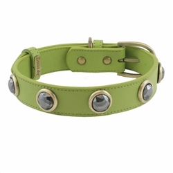 Pebble Collar & Leash - Green/Hematite