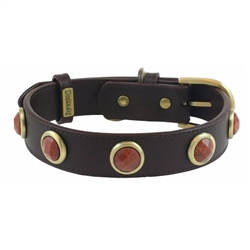 Pebble Collar & Leash - Brown/Gold Sand Stone