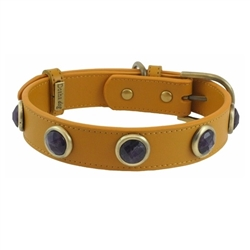Pebble Collar & Leash - Yellow/Amethyst