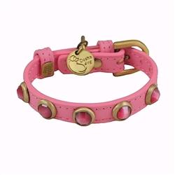 Pebbies Collar & Leash - Dark Pink/Cat Eye