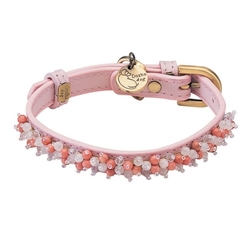 Mini Beads Collar & Leash - Light Pink/Rose Quartz