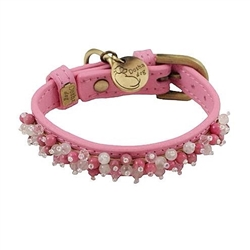 Mini Beads Collar & Leash - Dark Pink/Rose Quartz