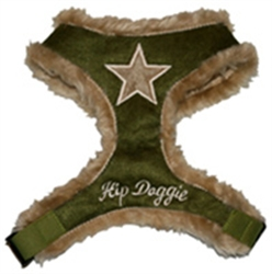 Olive Star Fur Harness Vest