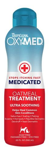 TropiClean OxyMed Medicated Rinse - Anti Itch Oatmeal Treatment 20 oz