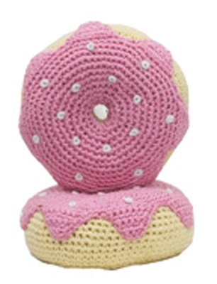 Strawberry Donut - The Original, 100% Organic Cotton Hand-Knit Dental Toy