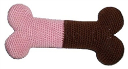"6.75"" Pink/Brown Bone - The Original, 100% Organic Cotton Hand-Knit Dental Toy"