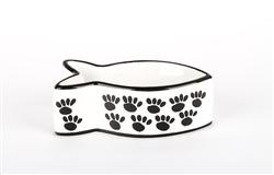 Black & White Ceramic Fish Shaped Cat Bowl