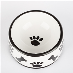 Black & White Ceramic Paws/Bones Dog Bowls & Treat Jars