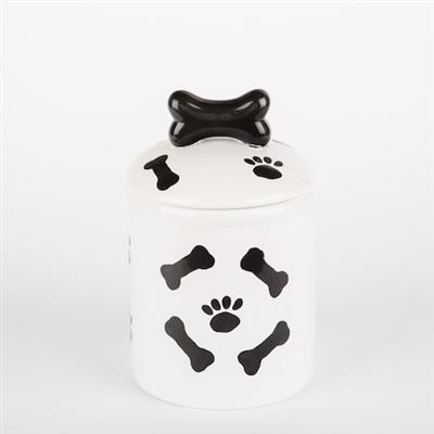 Black & White Ceramic Paws/Bones Dog Bowls & Treat Jars