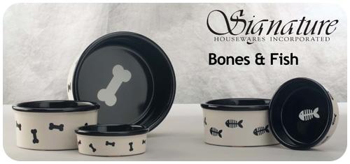 Black and White Bones & Fish Pattern Bowls