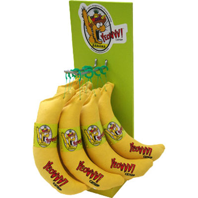 12 Catnip Bananas with Display Stand