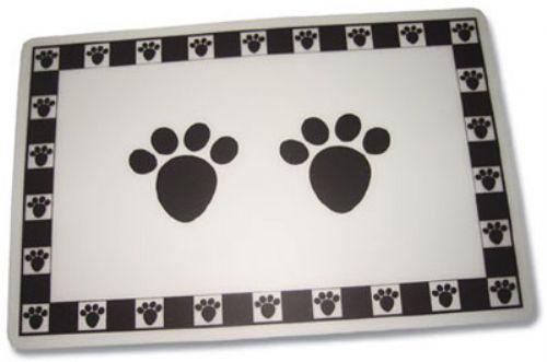 """Black Pet Paws Placemat - 11.75"""" x 19""""W"""