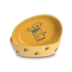 "Silly Kitty 6.5"" Oval Bowls - Yellow"