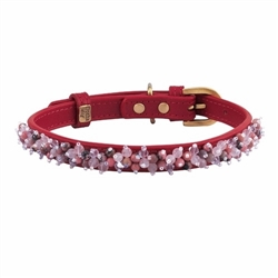 Mini Beads Collar & Leash - Red/Rose Quartz