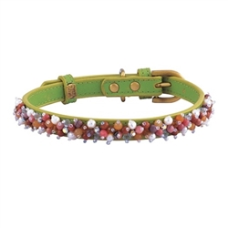 Mini Beads Collar & Leash - Green/Rhodonite & Aventurine