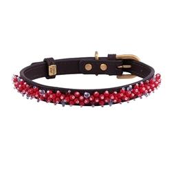 Mini Beads Collar & Leash - Brown/Bamboo Coral