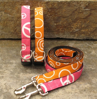 Peace Pink & Orange Circles Collars and Leashes