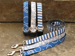 French Blue Circles, Trellis & Stripes Collars & Leashes