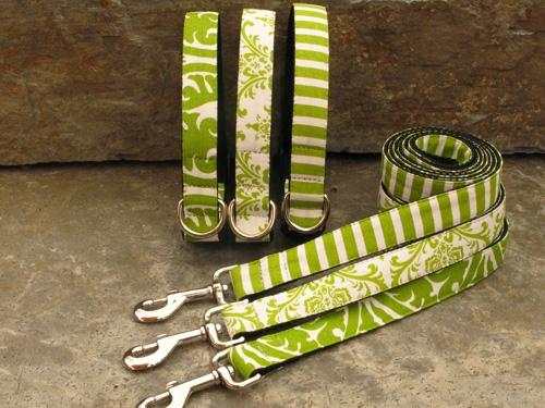 Light Green Buddha, Trellis & Thin Stripe Collars & Leashes