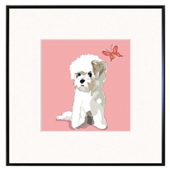 Framed Print: Maltese with Butterfly