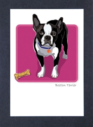 Boston Terrier with Bone - Grrreen Boxed Note Cards