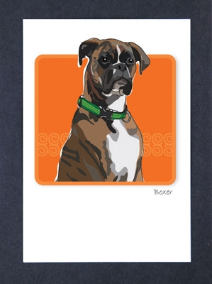 Boxer, Brindle - Grrreen Boxed Note Cards