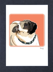 Pug Profile - Grrreen Boxed Note Cards
