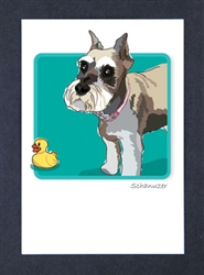 Schnauzer, Cropped Ears - Grrreen Boxed Note Cards