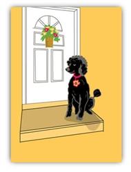 Blank Inside: Black Poodle & House