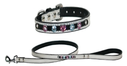 Pearl Flower Girl Faux Leather Bling Collars & Leads
