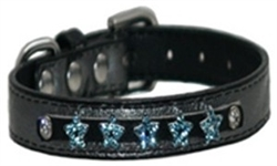 Platinum Star Faux Leather Bling Collars & Leads