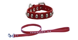 Red Faux Leather Stud Collars & Leads