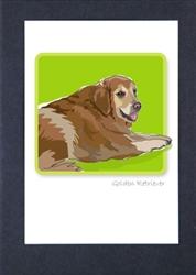 Golden Retriever Sitting - Grrreen Boxed Note Cards