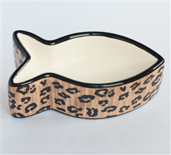 Leopard Ceramic Fish Shaped Cat Bowl