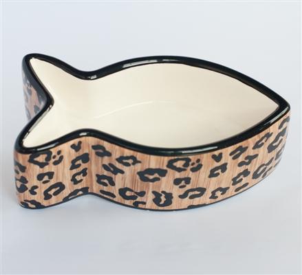 Leopard Ceramic Fish Shaped Cat Bowl